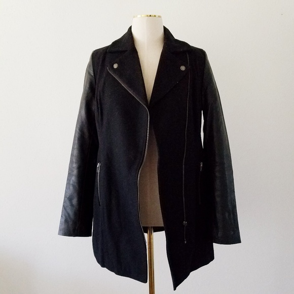 American Eagle Outfitters Jackets & Blazers - AE Small Black Vegan Leather Wool Moto Peacoat